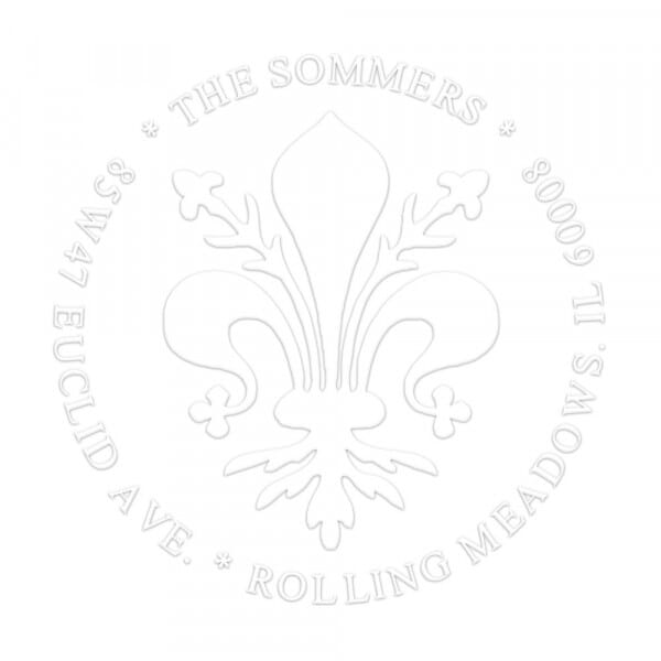 Large Fleur-de-Lis Round Monogram Seal