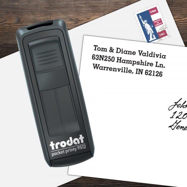 Custom 4 Line Pocket Printy Name and Address Stamp