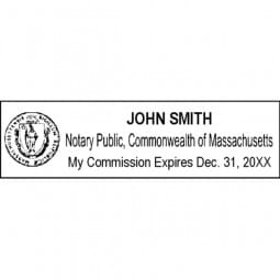 Massachusetts Notary Pre-Inked Pocket Stamp - 1-1/16 x 2-7/8