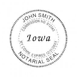Iowa Notary Self-Inking Stamp - 1-5/8 Diam. Round
