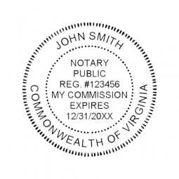 Virginia Notary Pocket Seal - 1-5/8 Diam. Round