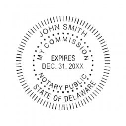Delaware Notary Pocket Seal - 1-5/8 Diam. Round
