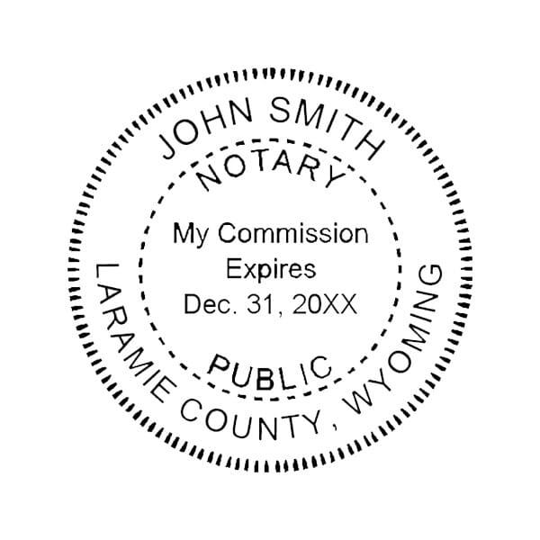 Wyoming Notary Self-Inking Stamp - 1-5/8 Diam. Round