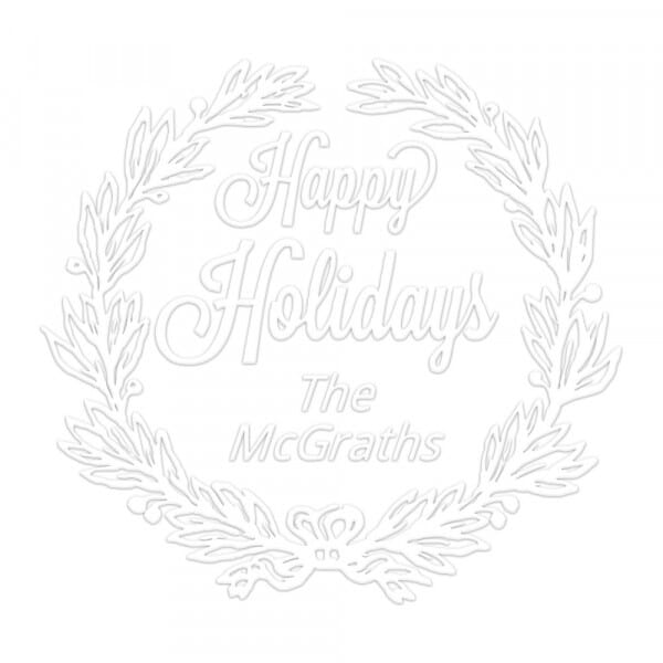 Happy Holidays Wreath Round Monogram Seal