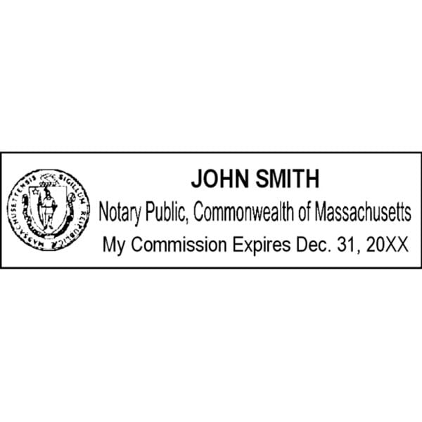 Massachusetts Notary Pre-Inked Stamp - 15/16 x 2-13/16