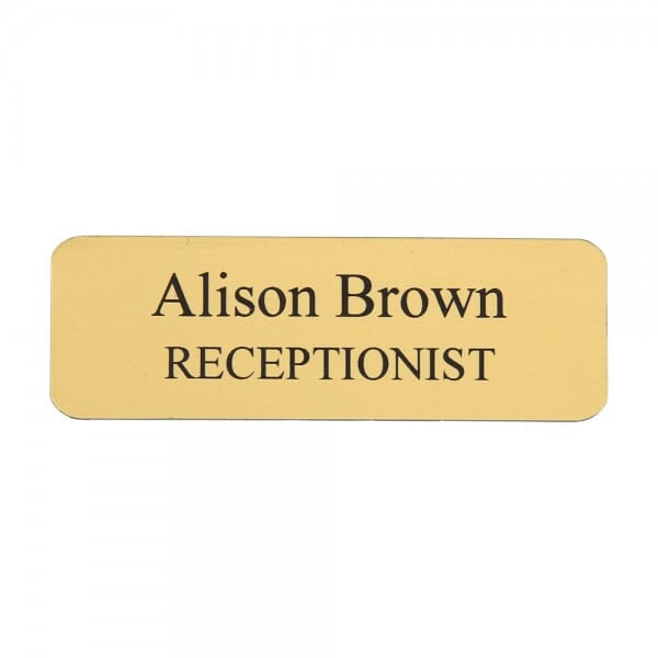 "Custom Engraved Name Badge- Plastic 1"" x 3"""