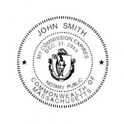 Massachusetts Notary Pre-Inked Pocket Stamp - 2 Diam. Round