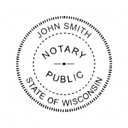 Wisconsin Notary Self-Inking Stamp - 1-5/8 Diam. Round