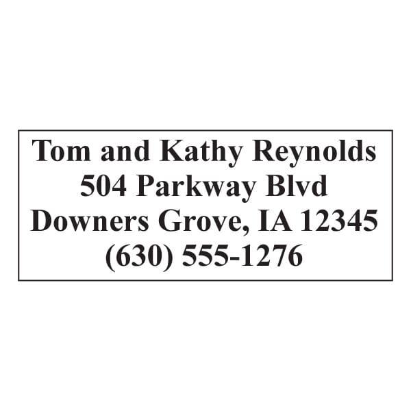 Custom 4 Line Imprint 12 Name and Address Stamp