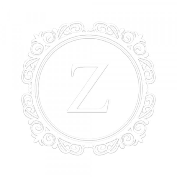 Fancy Border Single Initial Round Monogram Seal