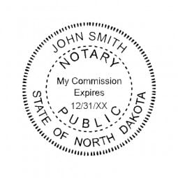 North Dakota Notary Self-Inking Stamp - 1-5/8 Diam. Round