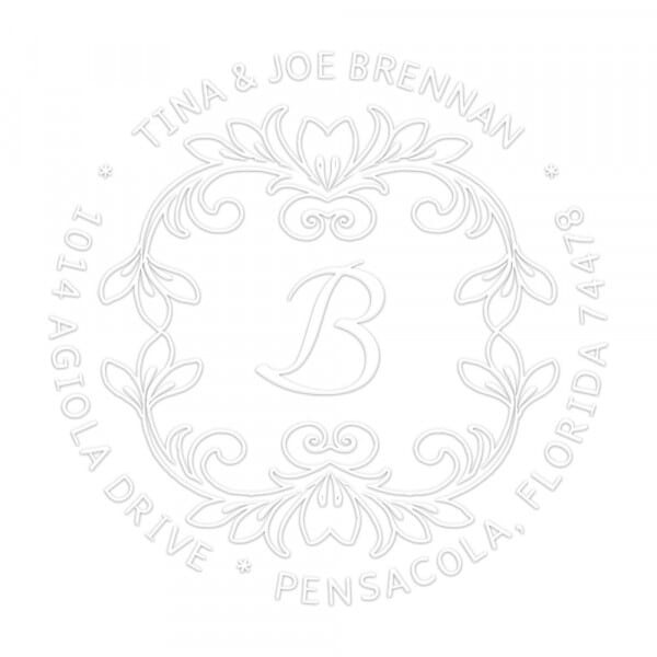 Flowery Vines Round Monogram Seal