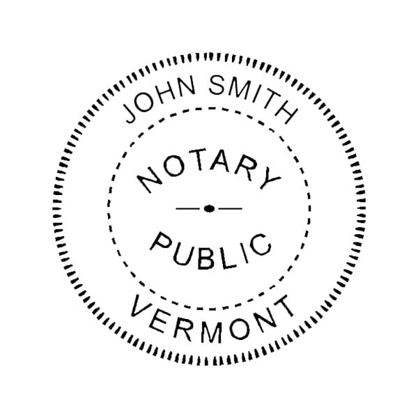 Vermont Notary Self-Inking Stamp - 1-5/8 Diam. Round