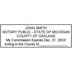 Michigan Notary Self-Inking Stamp - 7/8 x 2-3/8
