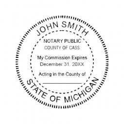 Michigan Notary Self-Inking Stamp - 1-5/8 Diam. Round