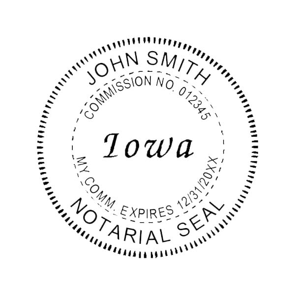 Iowa Notary Pocket Seal - 1-5/8 Diam. Round