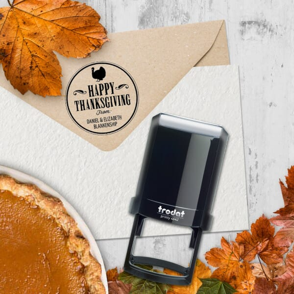 Check out our Happy Thanksgiving Round Monogram Stamp from Getstamps.com just in time for the holiday!